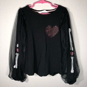 H&M color changing sequin heart top w/mesh sleeves